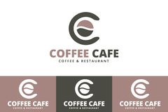 Feijões de café Logo With Letter C isolado no fundo branco ilustração stock