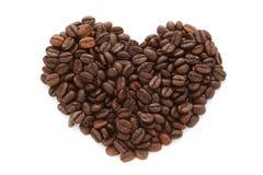 Feijões de café na forma do coração Foto de Stock