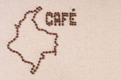 Feijões de café na lona: Colômbia e café Imagem de Stock