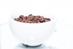 Feijões de café no copo branco Fotografia de Stock Royalty Free