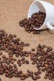 Feijões de café no copo do branco do pano de saco Fotos de Stock