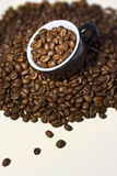 Feijões de café no copo preto. Fim acima Fotografia de Stock