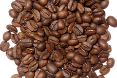 Feijões de café no fundo branco Imagem de Stock Royalty Free