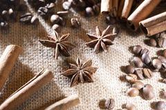 Feijões de café no pano de saco com especiarias anis e varas de canela Imagens de Stock Royalty Free