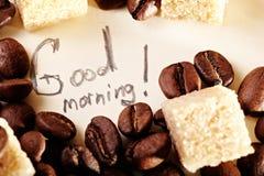 Feijões de café, obrigado Imagens de Stock Royalty Free