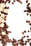 Feijões de café, papel, Fotografia de Stock Royalty Free