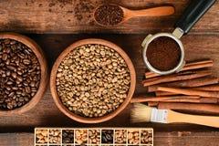 Feijões de café recentemente à terra em um filtro do metal e em uns feijões de café diferentes Fotos de Stock