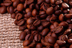 Feijões de Cofee na serapilheira imagens de stock