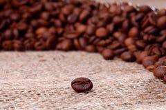 Feijões de Cofee na serapilheira imagem de stock royalty free