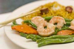 Feijões de corda chineses do camarão do alho Imagens de Stock Royalty Free