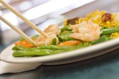 Feijões de corda chineses do camarão do alho Imagem de Stock