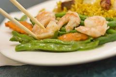 Feijões de corda chineses do camarão do alho Imagem de Stock Royalty Free