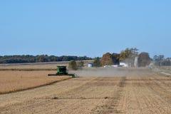 Feijões de soja da colheita mecanizada com cena da exploração agrícola no fundo Fotografia de Stock