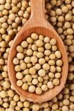 Feijões de soja na colher de madeira Fotos de Stock
