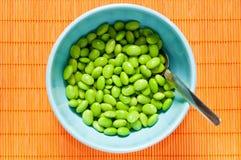 Feijões de soja preparados na bacia Imagens de Stock Royalty Free