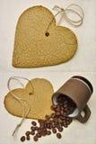 Feijões do biscoito e de café do coração Fotos de Stock