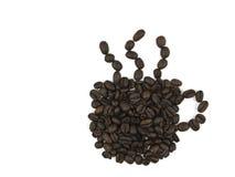 Feijões do copo de café imagens de stock