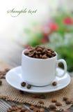 Feijões do copo e de café Foto de Stock