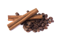 Feijões e canela de café Imagem de Stock Royalty Free