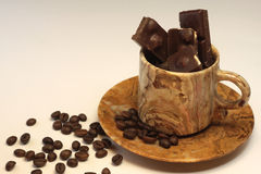 Feijões e chocolad de Coffe imagem de stock