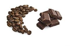 Feijões e chocolate de café Foto de Stock