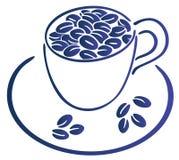 Feijões e copo de café Ilustração do Vetor