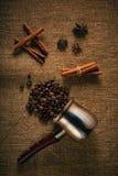 Feijões e especiarias de café Foto de Stock Royalty Free