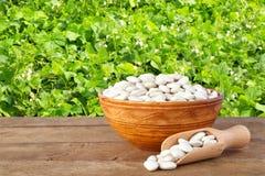 Feijões na bacia com campo dos feijões no fundo Imagem de Stock