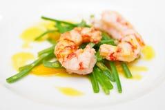 Feijões-roxos e camarões cozinhados Fotos de Stock Royalty Free