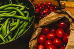 Feijões verdes e tomates Imagem de Stock Royalty Free