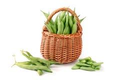 Feijões verdes em uma cesta de vime isolada em um fundo branco Fotografia de Stock Royalty Free