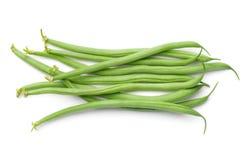 Feijões verdes isolados no fundo branco Imagens de Stock