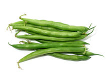 Feijões verdes no branco Fotografia de Stock