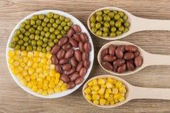 Feijões vermelhos, ervilhas verdes e milho doce na placa Imagem de Stock Royalty Free