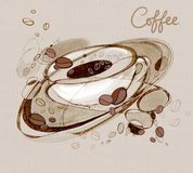 Feij?es de caf? dos kofs da inscri??o e uma x?cara de caf? ilustração royalty free