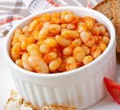 Feijões cozidos em um molho de tomate suave Imagens de Stock Royalty Free