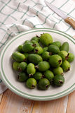Feijoa fruits on a plate Royalty Free Stock Photo