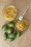 Feijoa jam on a linen background. The view from the top Royalty Free Stock Photos