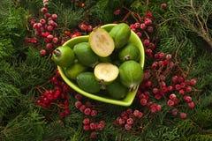 Feijoa source of iodine and vitamins. Feijoa source of iodine and vitamins for a healthy diet. Bowl full of feijoa, exotic fruit royalty free stock photo