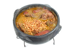Feijoada. Brazilian typical food Feijoada in a mud pot stock photos