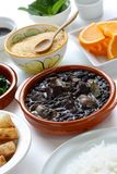 Feijoada, brazilian cui. Black beans and meat stew Royalty Free Stock Photos
