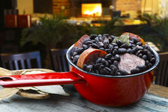 Feijoada. Brazilian feijoada with pepperoni sausage royalty free stock photo