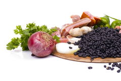 Feijoada Ingredients. Brazilian Feijoada raw fresh Ingredients royalty free stock photography