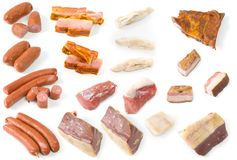 Feijoada Meat Collection. Several meats using in the famous feijoada brazilian meal stock photos
