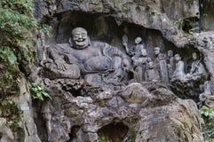 Feilai Feng stone carvings, Lingyin temple Stock Image
