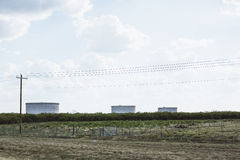 Feild with three water tanks in Texas Stock Images
