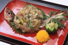 Fein gehackte japanische Stöckerfische mit Miso, japanisches Lebensmittel Lizenzfreies Stockbild