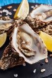 Feine Austern de Claire mit Zitronenscheiben stockbilder