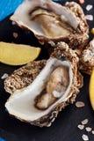 Feine Austern de Claire mit Zitronenscheiben lizenzfreie stockfotografie