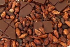 Feine Ursprungsschokolade mit Kakaobohnen Stockfotos